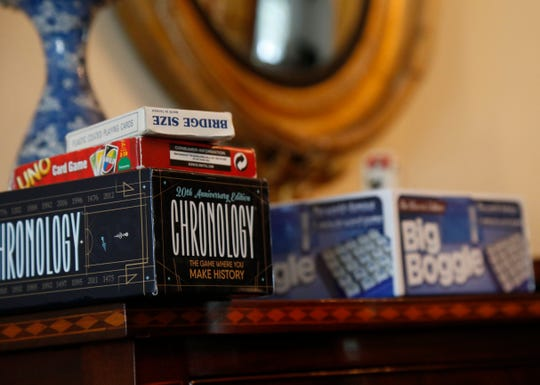 A variety of new and vintage board games at the home of Ellie Charwat in the Town of Poughkeepsie on March 4, 2019. Charwat is a member of the Poughkeepsie branch of the American Association of University Women, which meets on the first Monday of each month to play board games, and has done so for over 20 years.