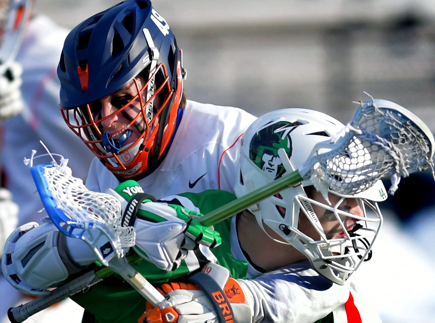 York College's Eric Ranck is pressured by Gettysburg College's Jackson Mumford during lacrosse action at Gettysburg Wednesday, March 6, 2019. Both teams went into the game ranked in the top 10 nationally in NCAA Division III men's lacrosse. York won 14-6. Bill Kalina photo