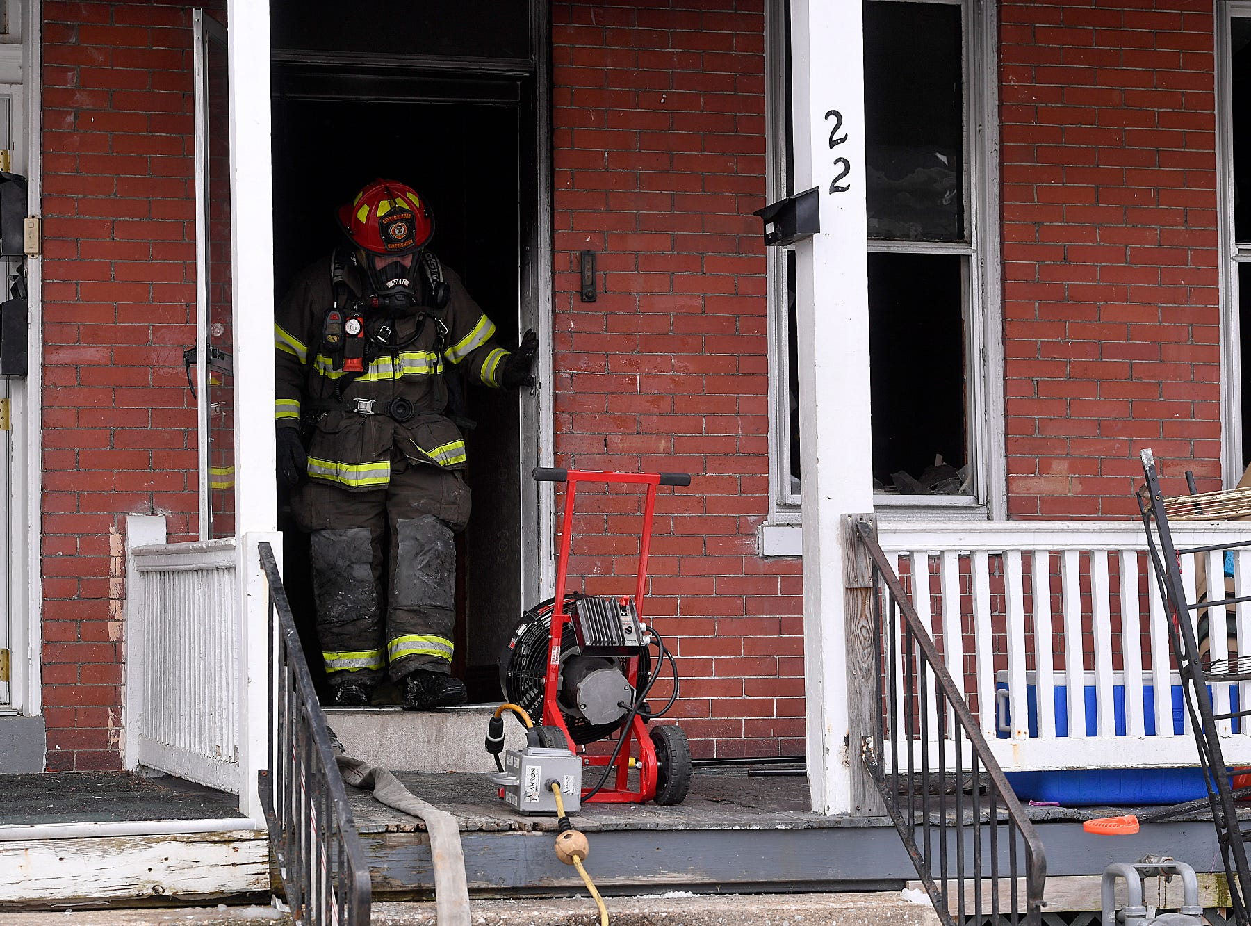 York City firefighters got a fire in the 200 block of Kurtz Ave. under control quickly, Wednesday, March 6, 2019. One adult and two children were displaced by the blaze.