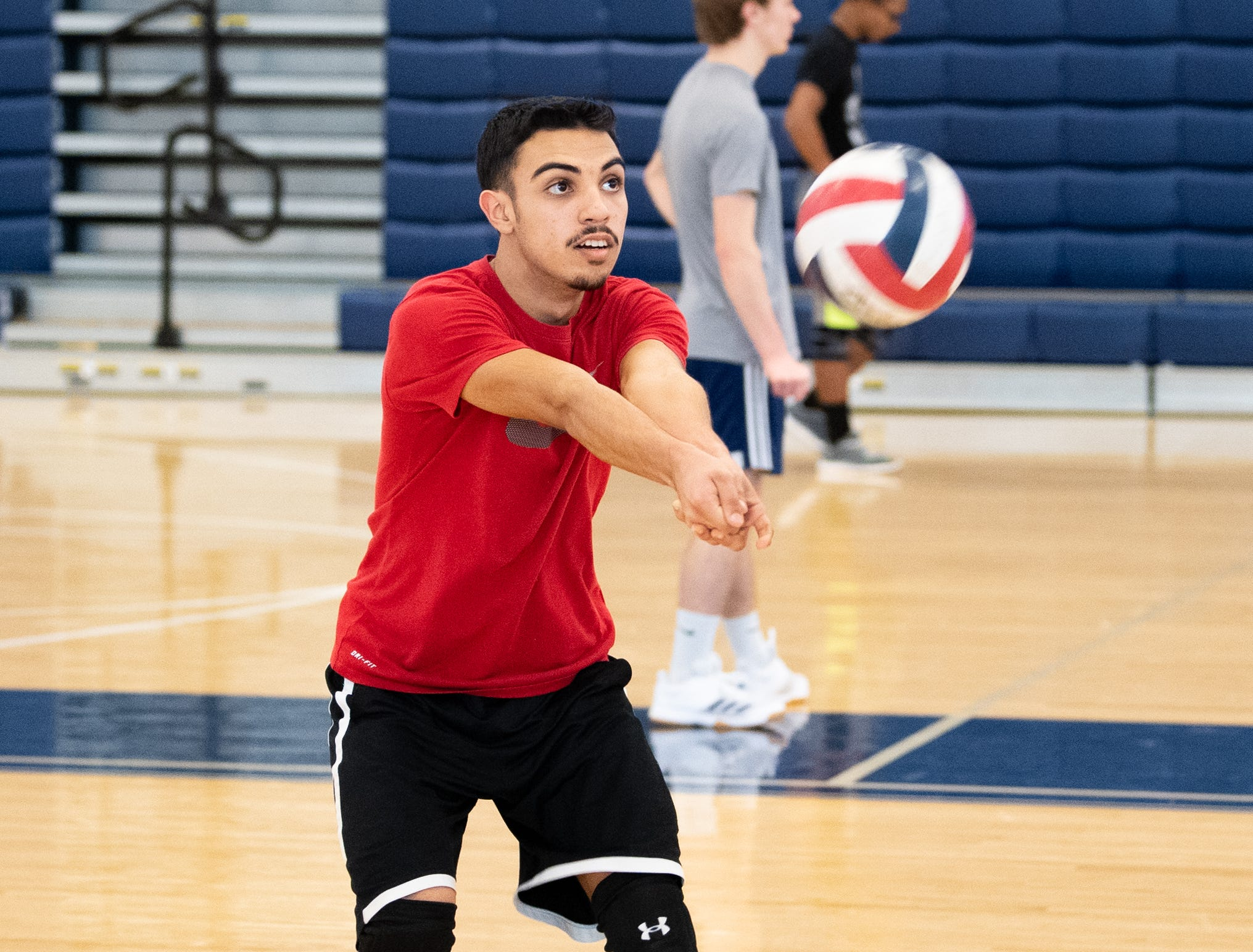 The West York boys' volleyball team works on their form, March 5, 2019.