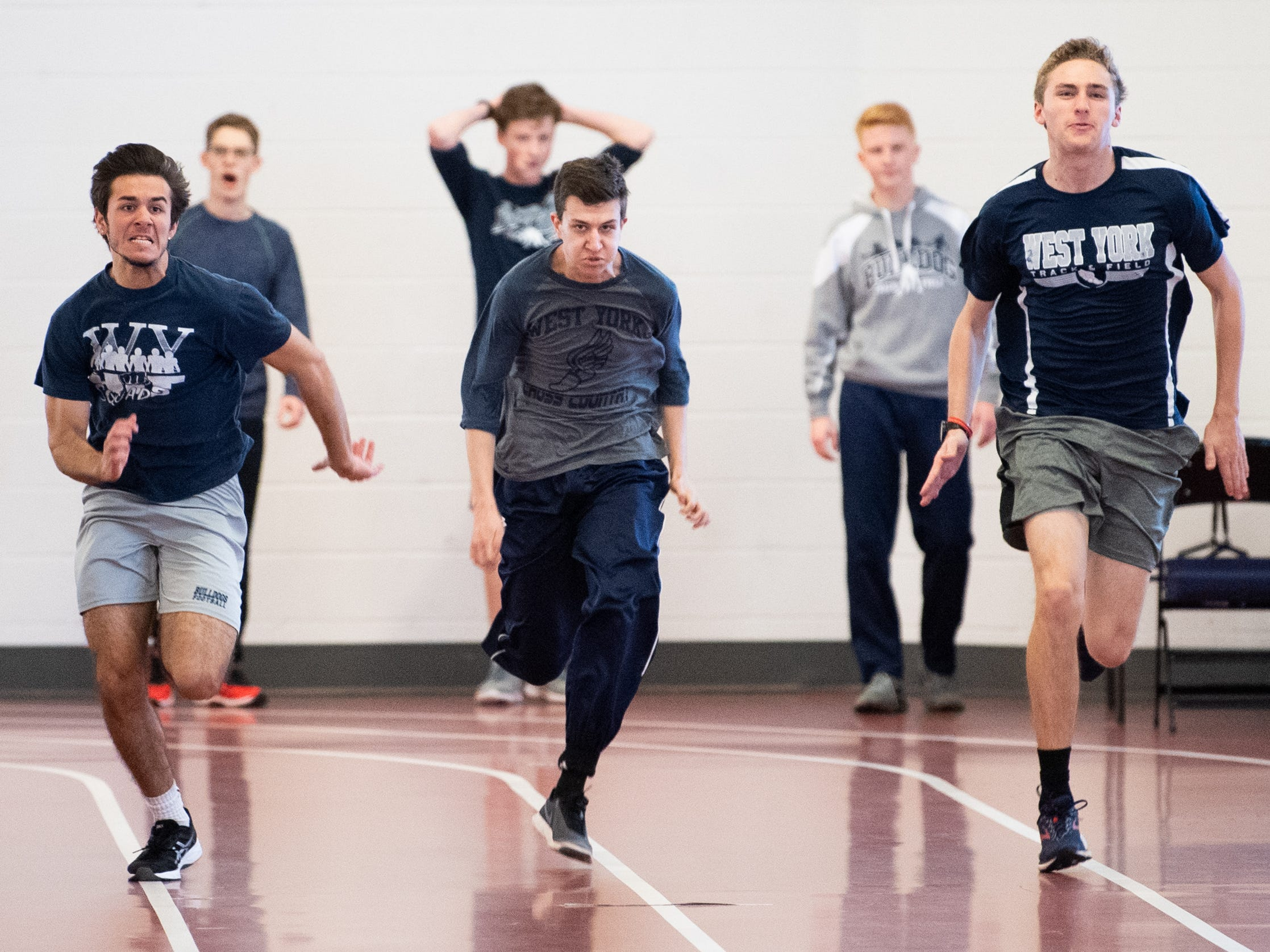 West York sprinters race each other on the indoor track, March 5, 2019.