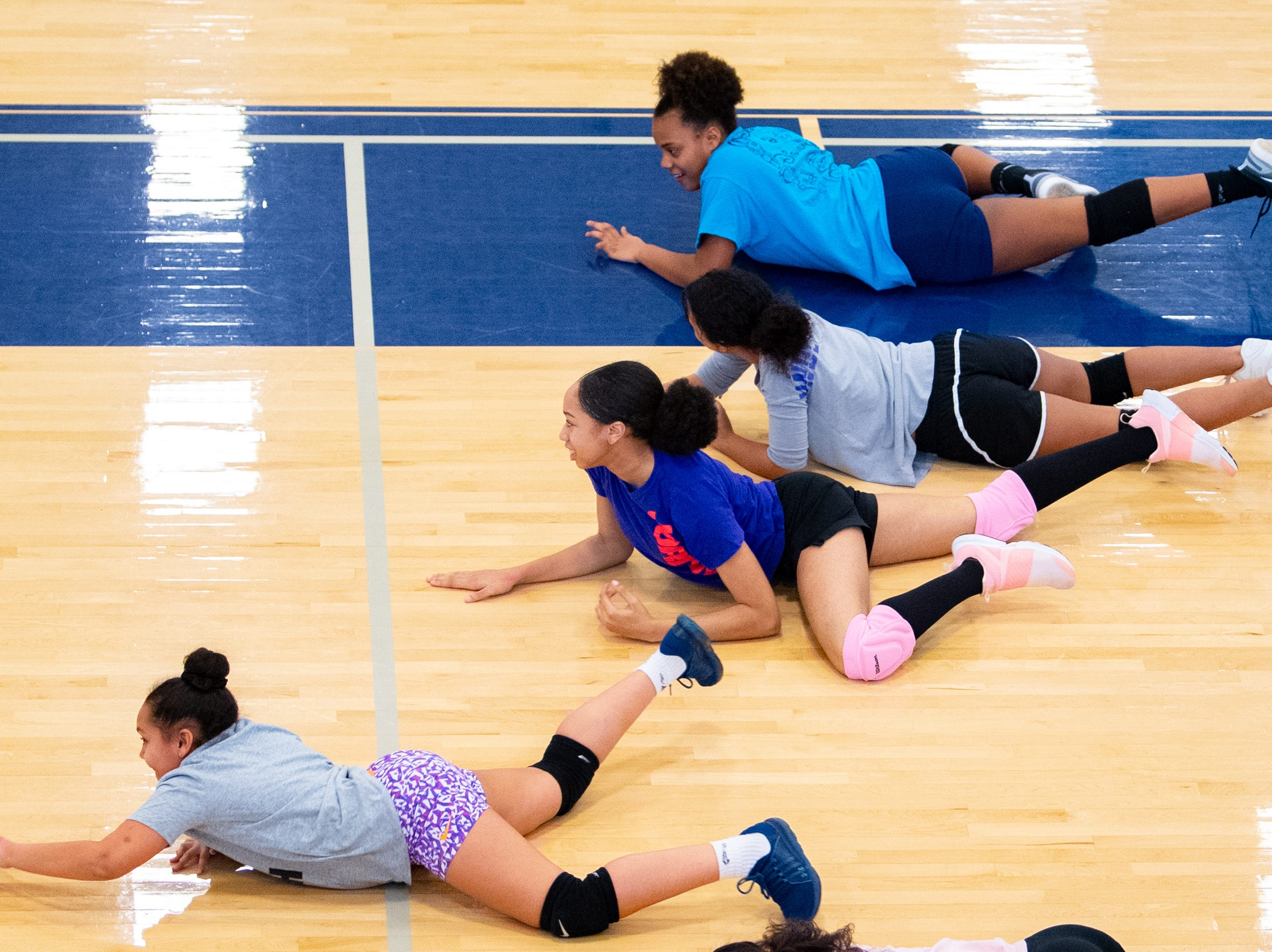 In this drill, players must crawl to the net and back to the base line, March 5, 2019.