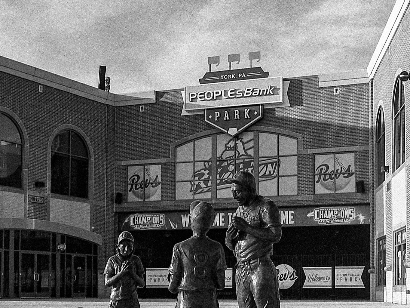 Statues outside of People's Bank Park. [Pentax KX] [Kodak Tri-X 400]
