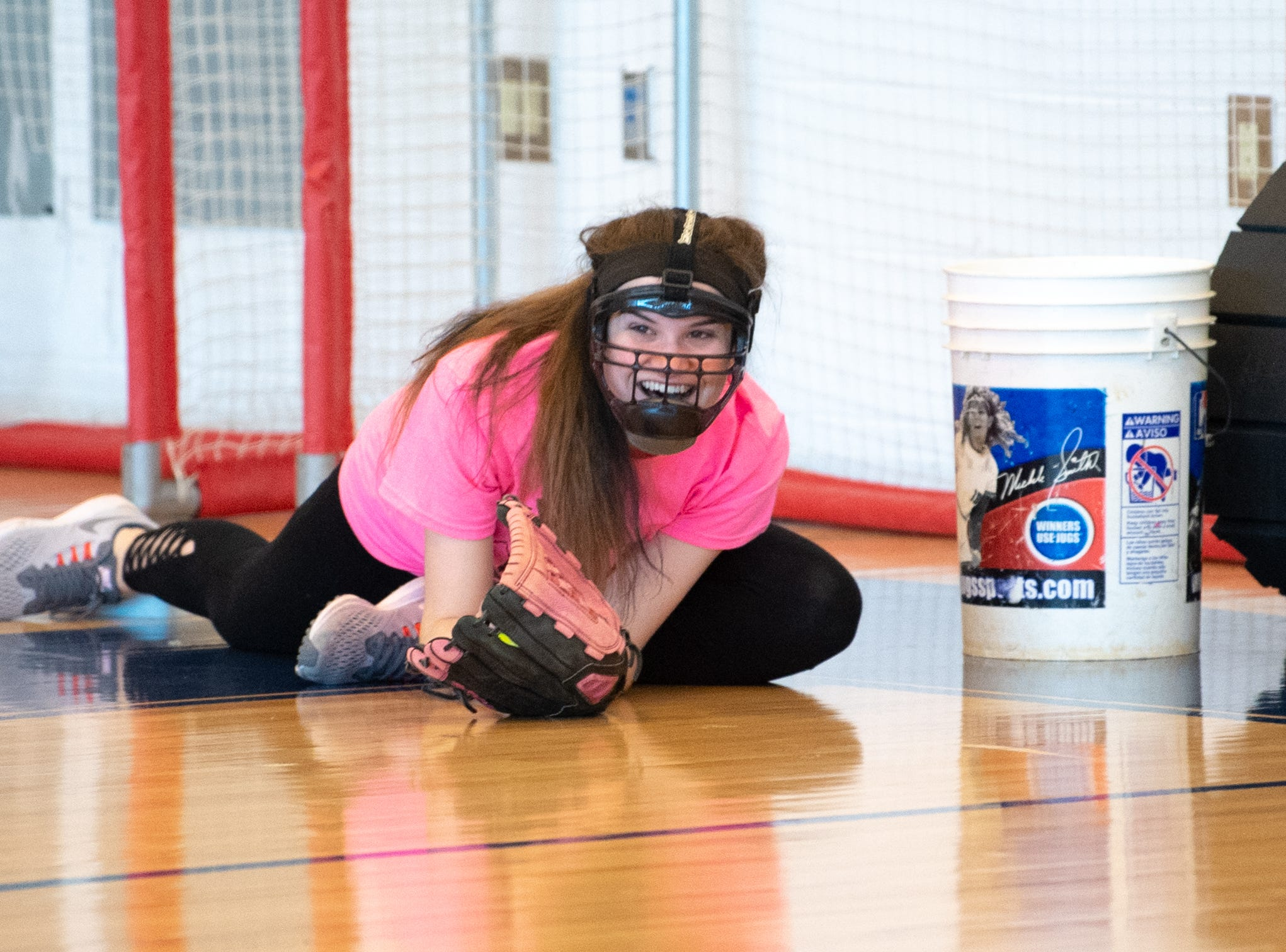 West York's softball players secure the ball by any means necessary during practice, March 5, 2019.