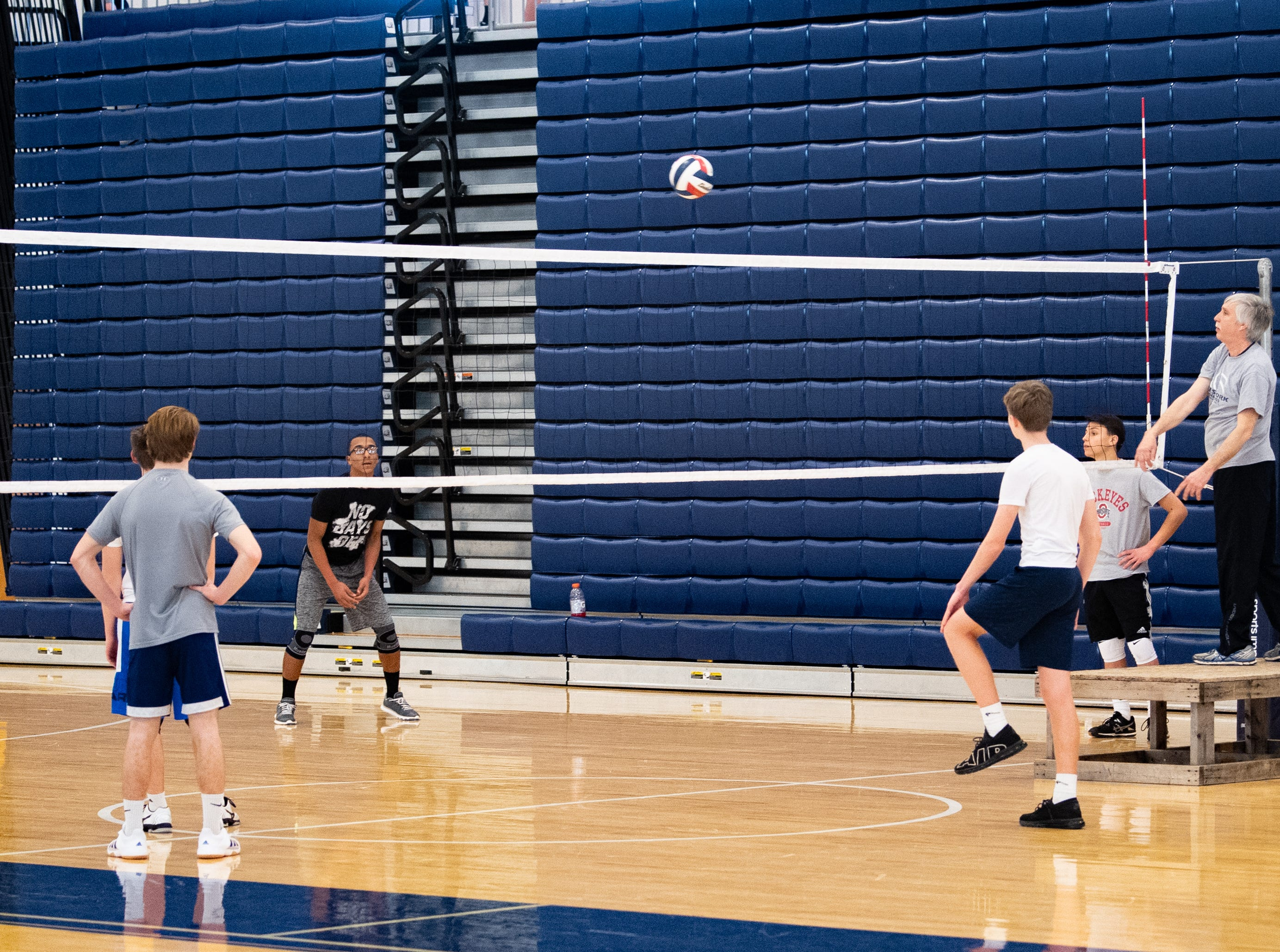 Coaches spike the ball to players to see how they handle the situation, March 5, 2019.