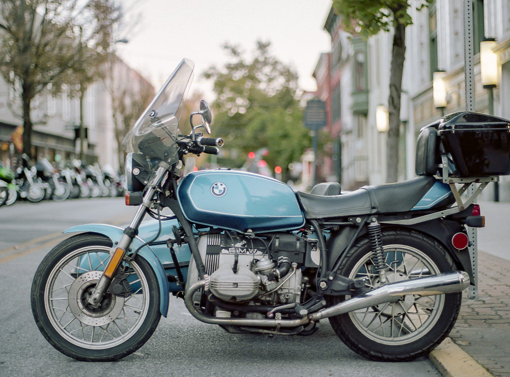 A BMW at the 2017 Bike Night in York. [Pentax KX] [Kodak Portra 160]