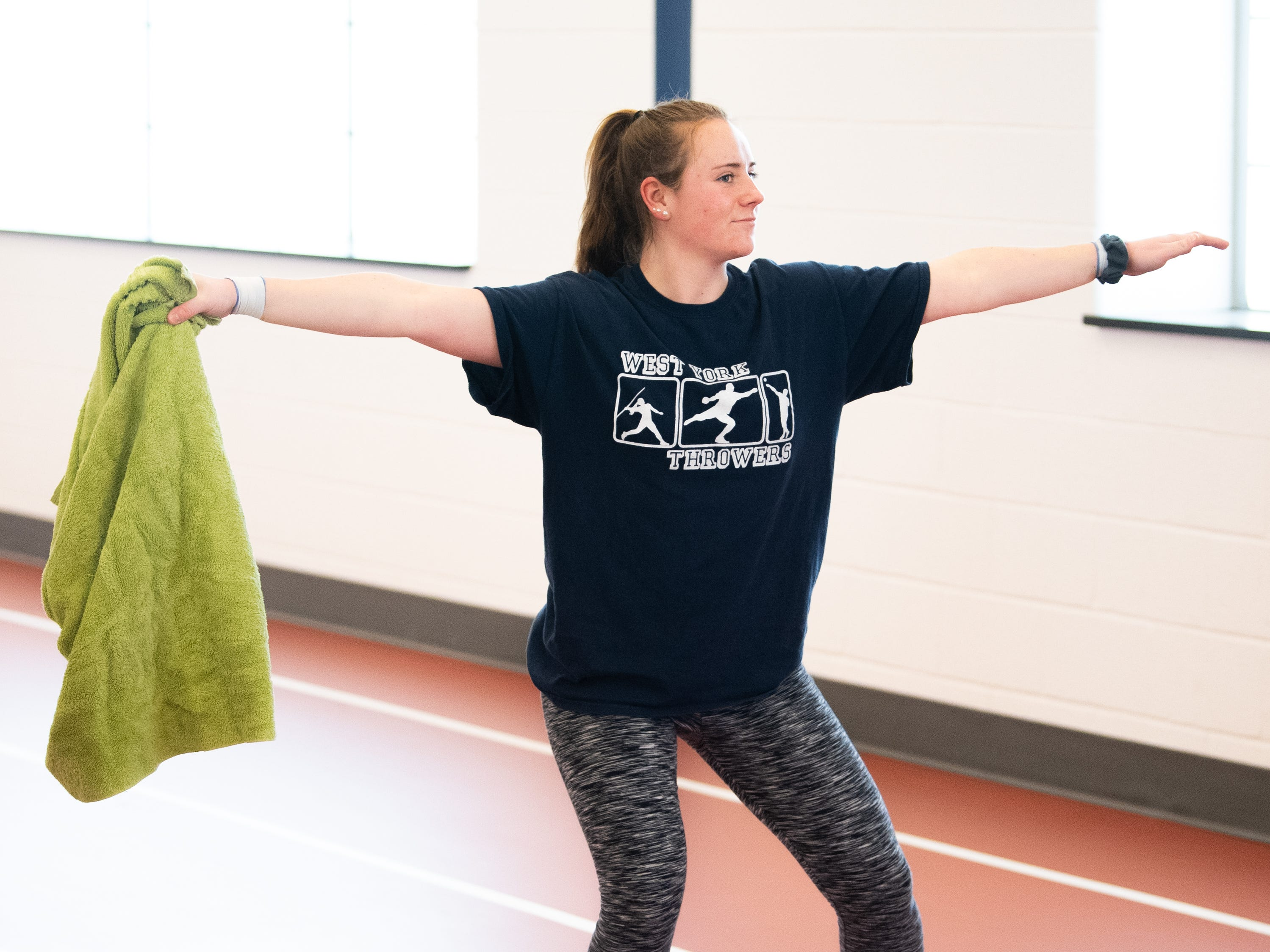 Some throwers practice with a towel to perfect each step of the throwing process, March 5, 2019.