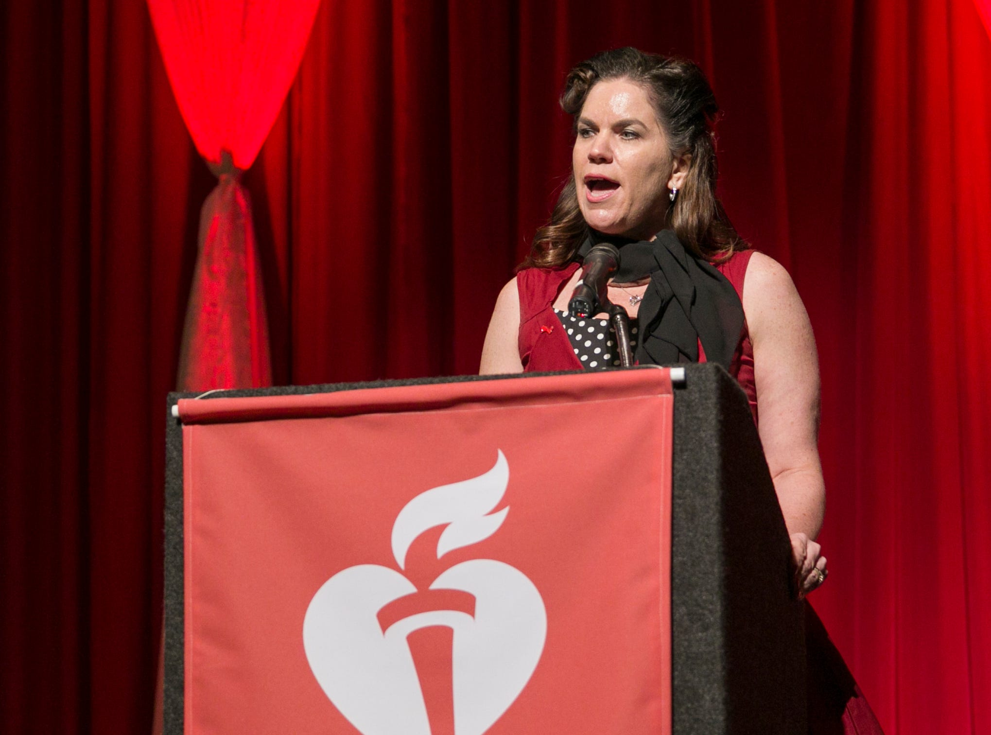 Meredith Williams speaks during the 15th Annual Go Red for Women Luncheon on Friday night,March 1, 2019 held at the downtown Reno Ballroom.