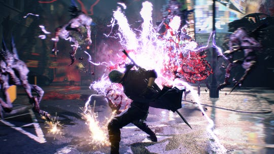 Nero uses one of his Devil Breaker arms in Devil May Cry 5 for PC, PS4 and Xbox One.