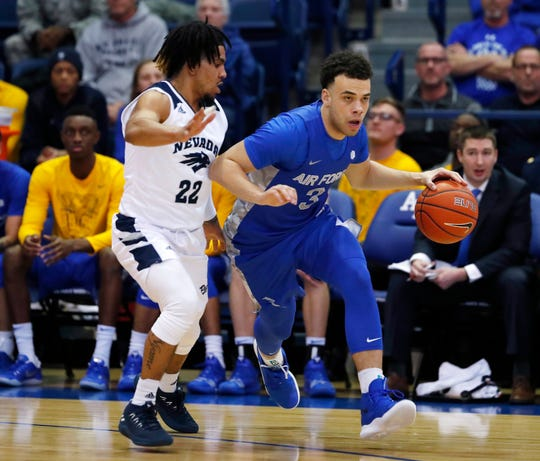 Air Force's Sid Tomes, right, dribbles against Nevada guard Jazz Johnson during Tuesday's game. Johnson went on to lead the Wolf Pack with 27 points
