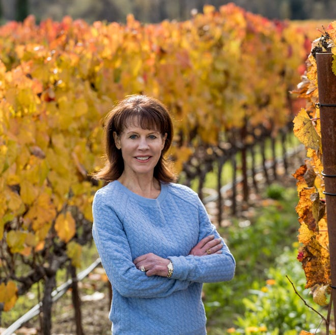 Rhonda Carano of Reno, owner and CEO of Ferrari-Carano Vineyards and Winery, one of Sonoma County's leading houses, takes a moment in a vineyard at the home estate. Carano is hosting a Ferrari-Carano wine dinner on March 21 in the Eldorado casino.