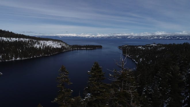 A still from drone footage above Lake Tahoe's Emerald Bay shot on March 4, after the lake and surrounding mountains saw a record-setting amount of snowfall during the month of February.