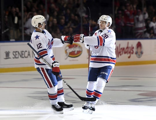 Rochester Americans defenseman Lawrence Pilut, right, is congratulated on his goal by Victor Olofsson during the season opener against the Charlotte Checkers on Oct. 5, 2018. Charlotte is the only team in the AHL with a better road record than Rochester.
