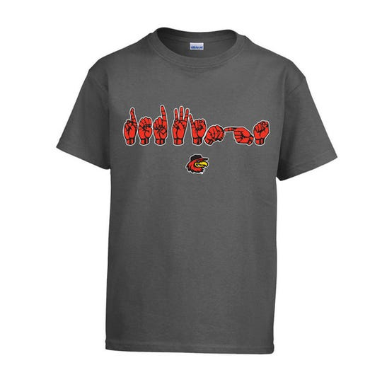"T-shirt with ""Red Wings"" spelled out in American Sign Language."