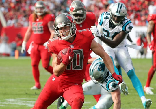 Tampa Bay Buccaneers wide receiver Adam Humphries (10) runs with the ball against the Carolina Panthers.