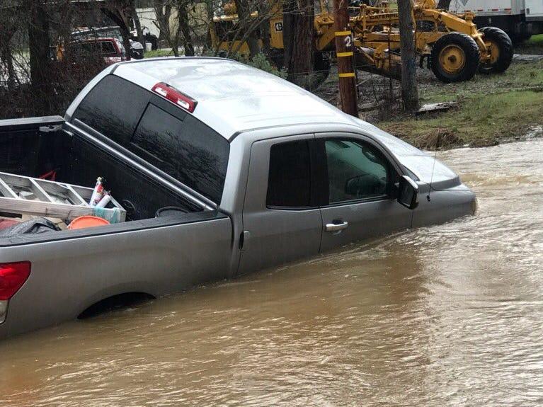 Shasta County resident Scott Rockemann's truck went off a bridge Monday, March 9, 2019 into rain swollen Newtown Creek in north Redding.