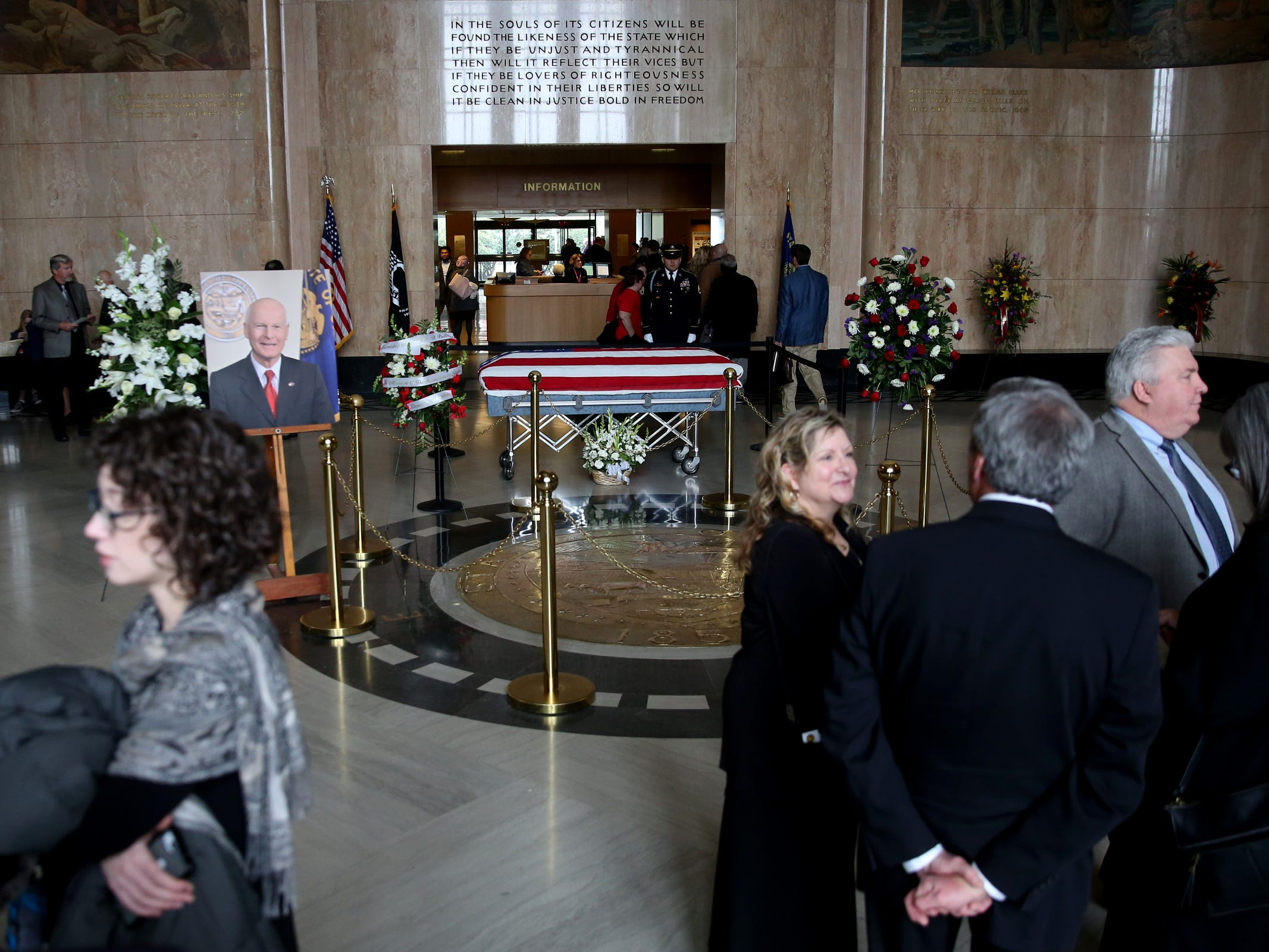 Secretary of State Dennis Richardson lies in state as friends and family gather in the rotunda at the Oregon State Capitol in Salem on Wednesday, March 6, 2019.