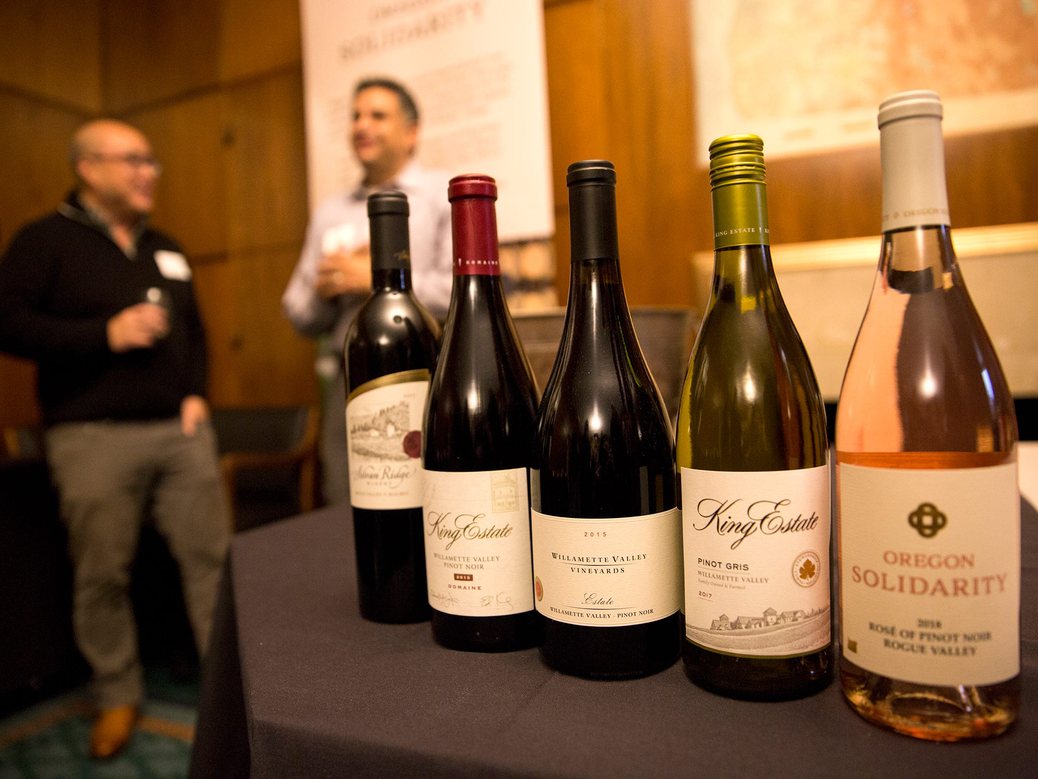 Wines from across Oregon are pictured at a release party for the Oregon Solidarity Rose of Pinot Noir in the Governor's ceremonial office at the Oregon State Capitol in Salem on Tuesday, March 5, 2019.