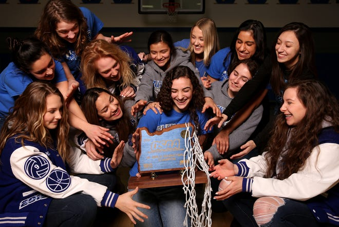 The St. Paul girls basketball team are the OSSA Class 1A State Champions. Photographed at St. Paul High School on Tuesday, March 5, 2019.