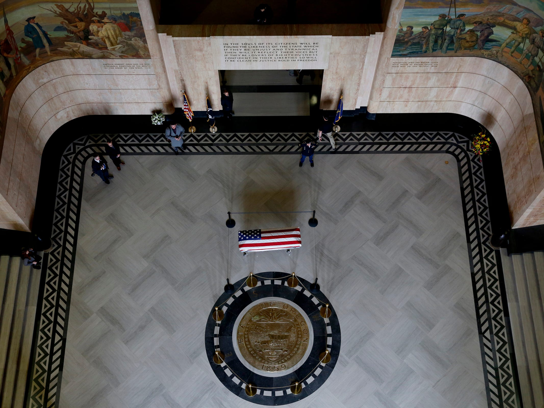 Secretary of State Dennis Richardson lies in state in the rotunda at the Oregon State Capitol in Salem on Wednesday, March 6, 2019.