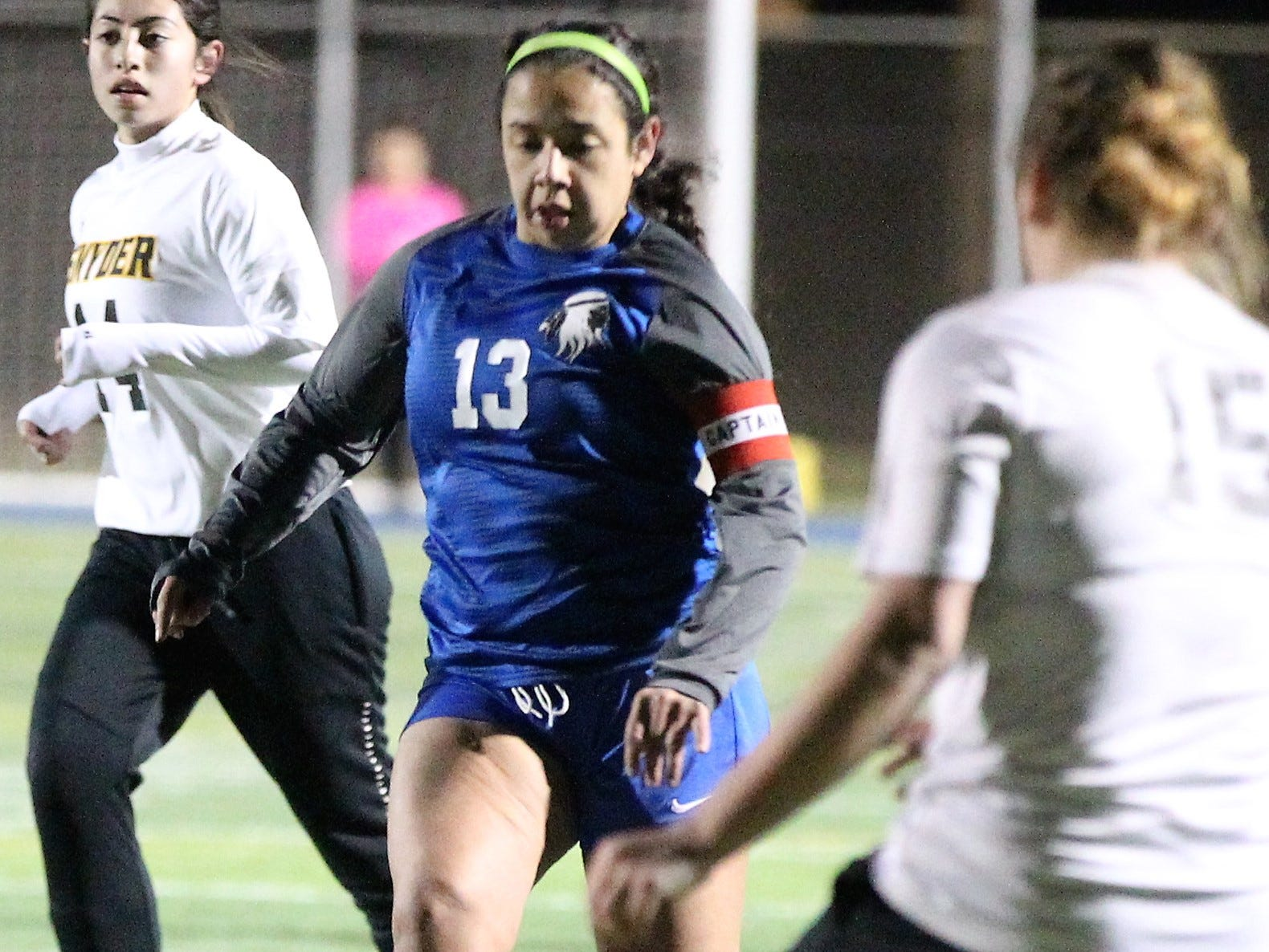 Lake View's Mallory Govea had a hat trick in a District 4-4A soccer match against Snyder at Old Bobcat Stadium on Tuesday, March 5, 2019.
