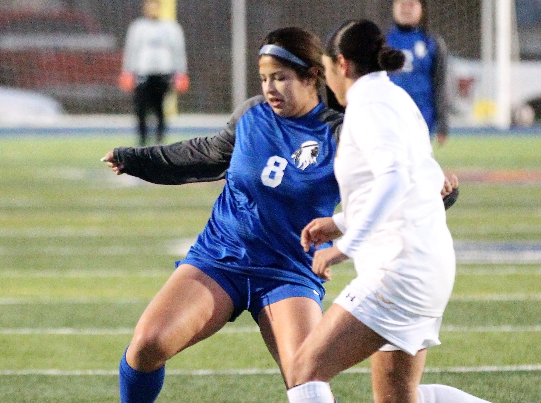 Lake View's Ariana Rangel (right) fights for the ball in a District 4-4A soccer match against Snyder at Old Bobcat Stadium on Tuesday, March 5, 2019.