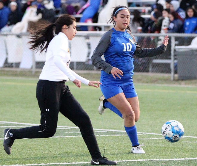 The Lake View Maidens soccer team will lose 11 seniors to graduation, including Aize Garfias (right).