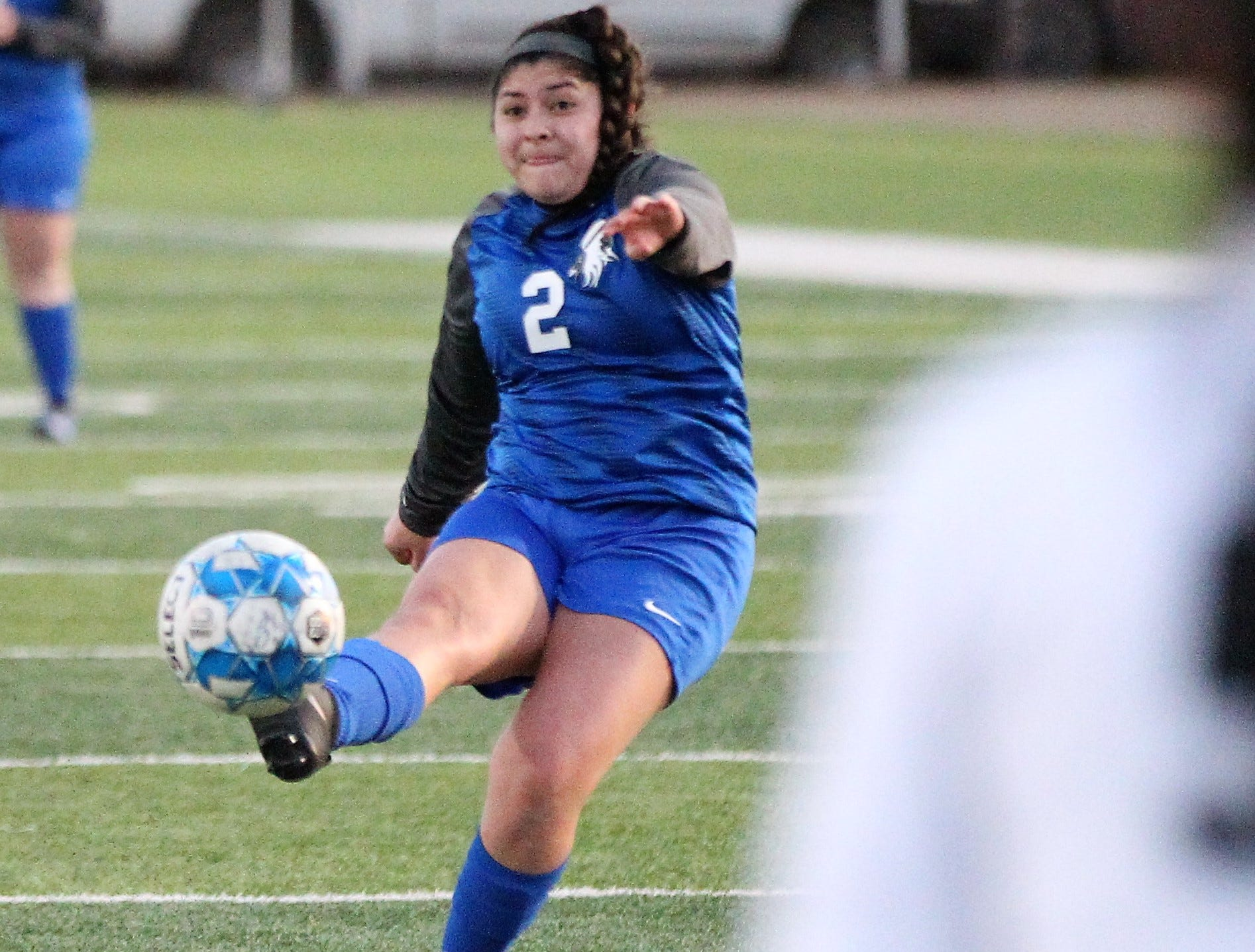 Lake View's Abigail Borrego fires a shot in a District 4-4A soccer match against Snyder at Old Bobcat Stadium on Tuesday, March 5, 2019.