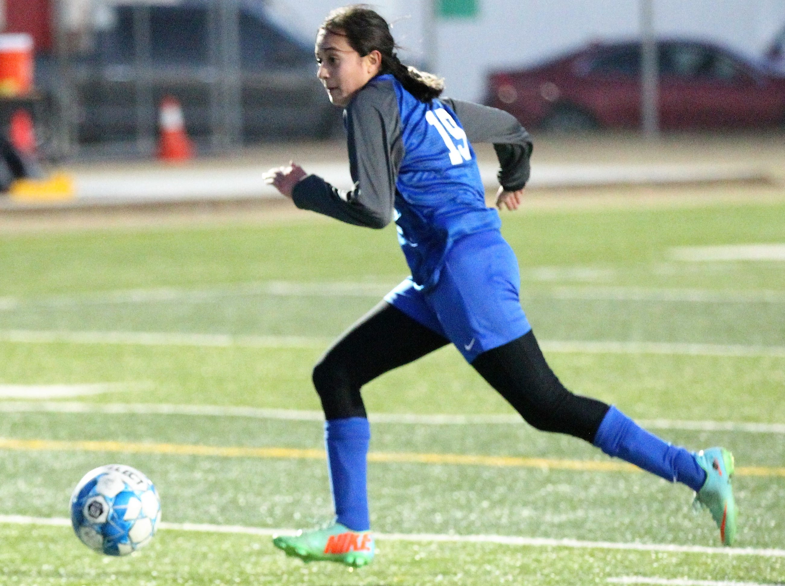 Lake View's Analica Garcia works the ball in a District 4-4A soccer match against Snyder at Old Bobcat Stadium on Tuesday, March 5, 2019. The Maidens won 8-0 to secure the district title.