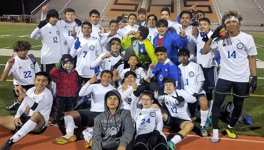 The Lake View Chiefs soccer team celebrates winning the District 4-4A title after beating Snyder 4-0 on the road on Tuesday, March 5, 2019.