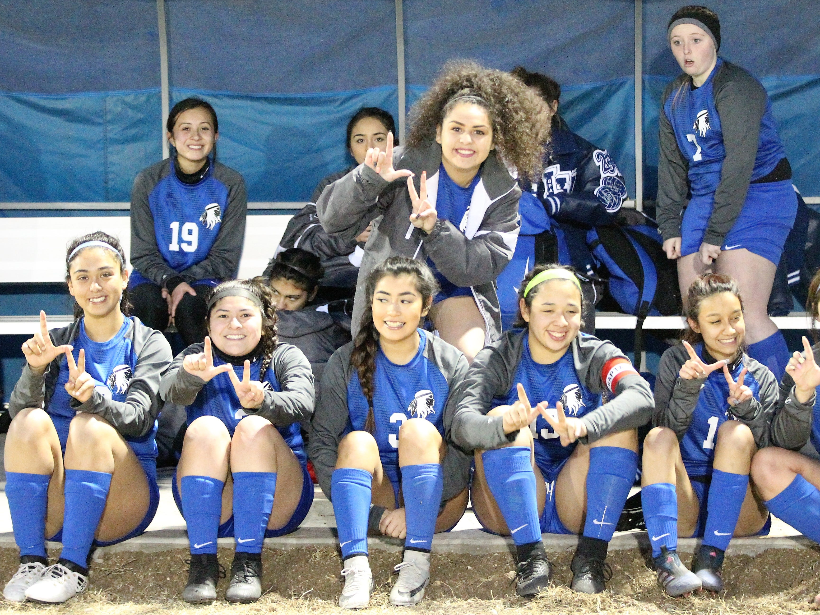 The Lake View Maidens were in a festive mood after leading 8-0 at the half in a District 4-4A soccer match against Snyder at Old Bobcat Stadium on Tuesday, March 5, 2019. Lake View won 8-0 to secure the 4-4A crown.