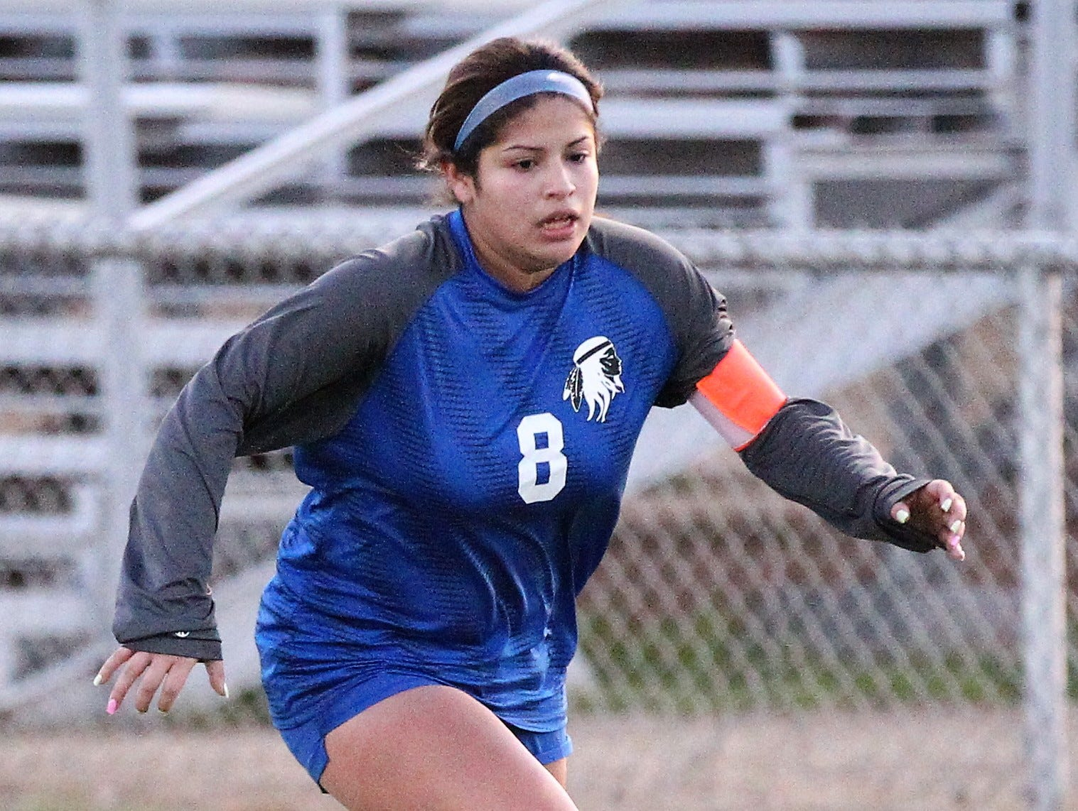 Lake View's Ariana Rangel makes a move toward the goal in a District 4-4A soccer match against Snyder at Old Bobcat Stadium on Tuesday, March 5, 2019.