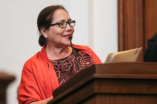 Alma Perez talks about diversity during the naturalization ceremony Wednesday March 6, 2019, at the O.C. Fisher Federal Building.
