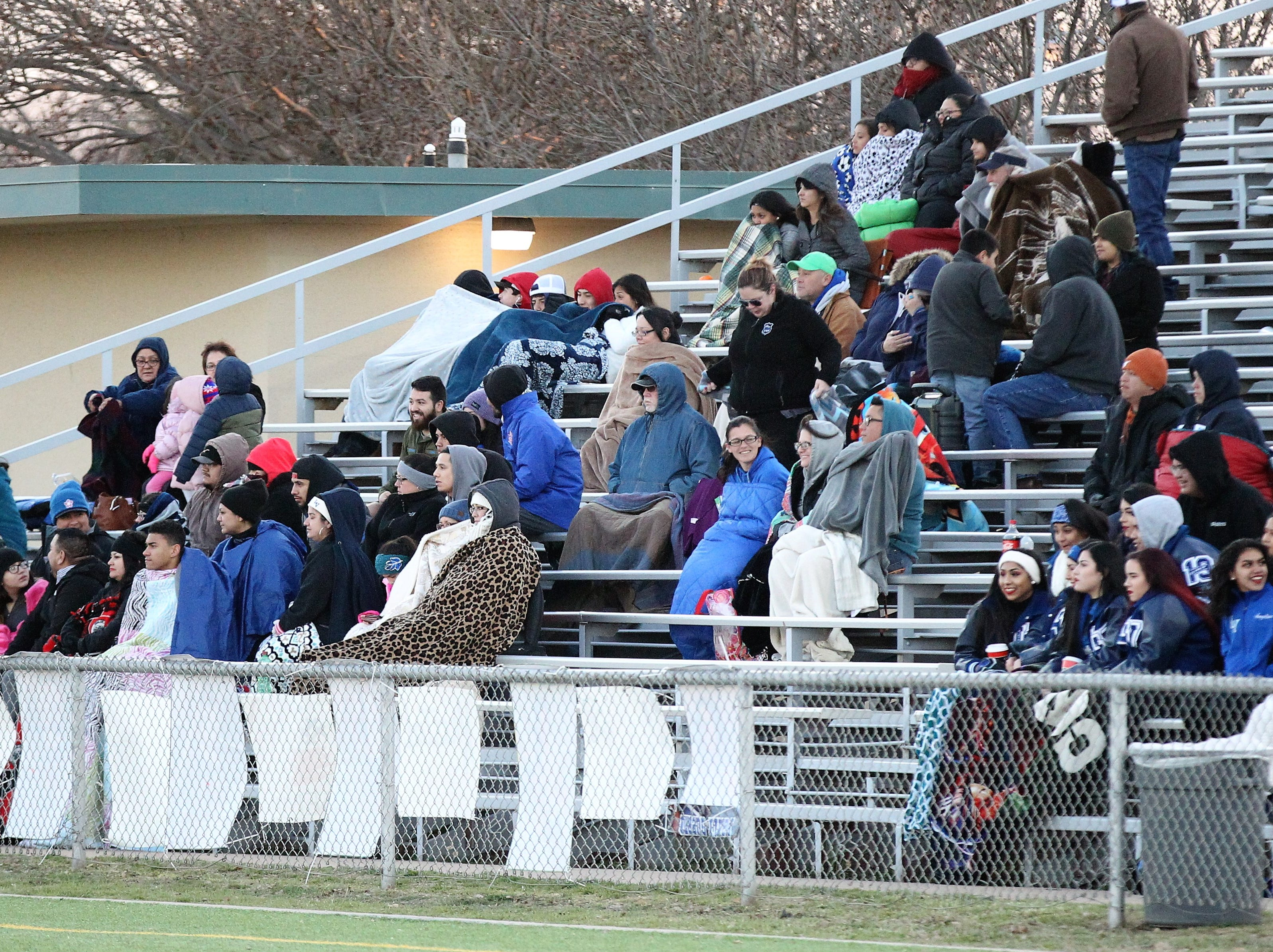Lake View Maidens fans braved the cold temperatures in a District 4-4A soccer match against Snyder at Old Bobcat Stadium on Tuesday, March 5, 2019.