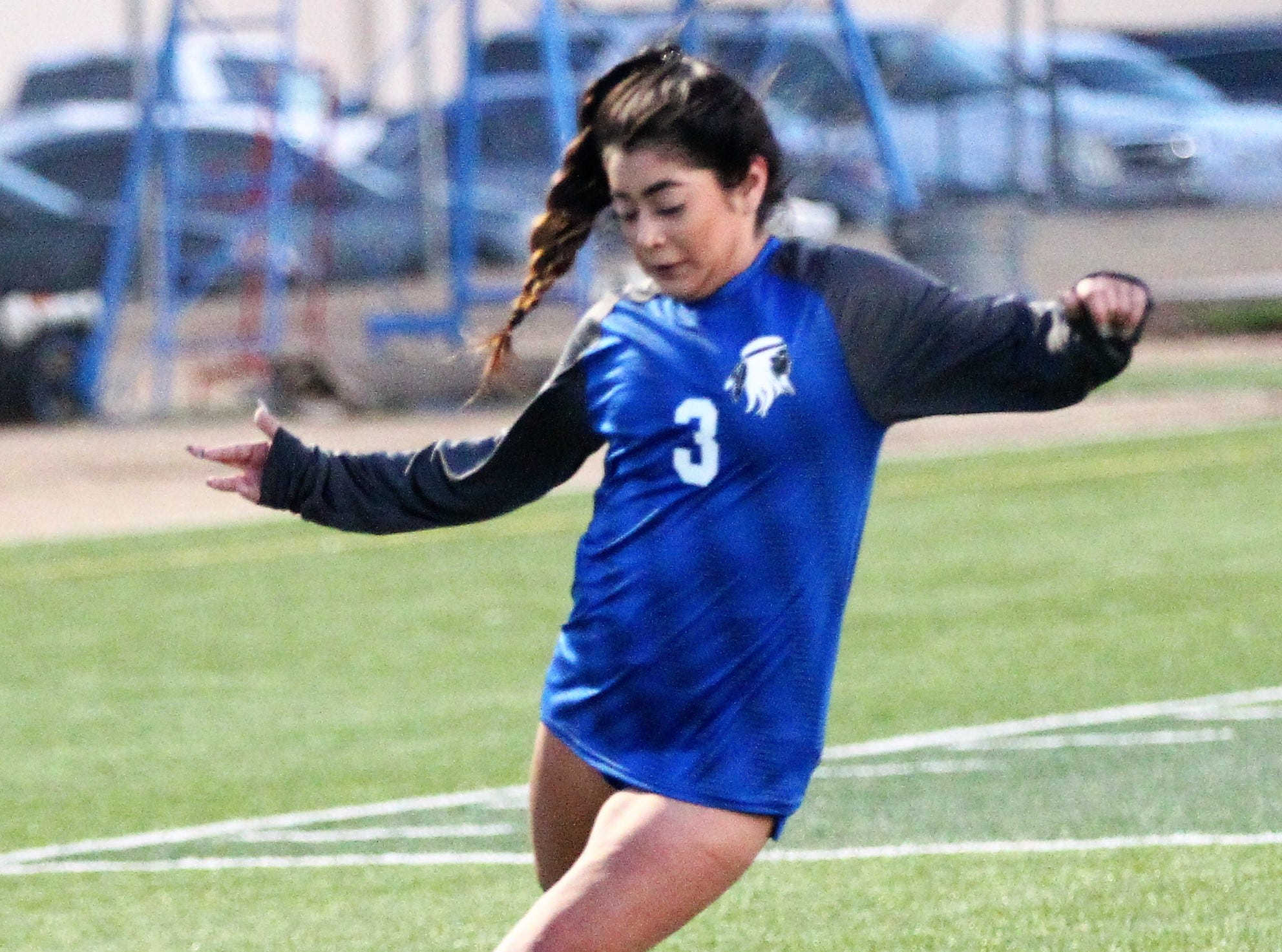 Lake View's Jilliyan Estrada puts a shot on goal in a District 4-4A soccer match against Snyder at Old Bobcat Stadium on Tuesday, March 5, 2019.
