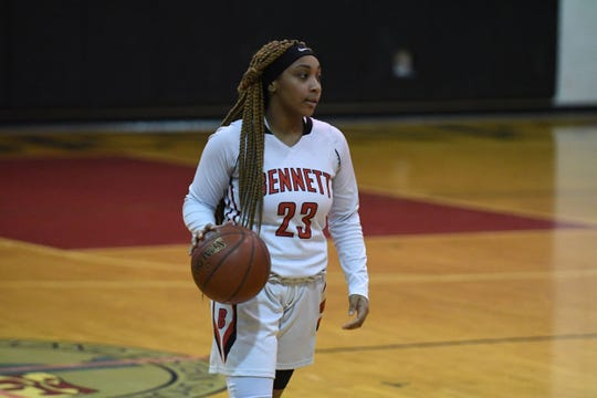 Bennett's Mekara Hanson sets up the offense against Northeast on Tuesday, March 5, 2019 during the MPSSAA playoffs.