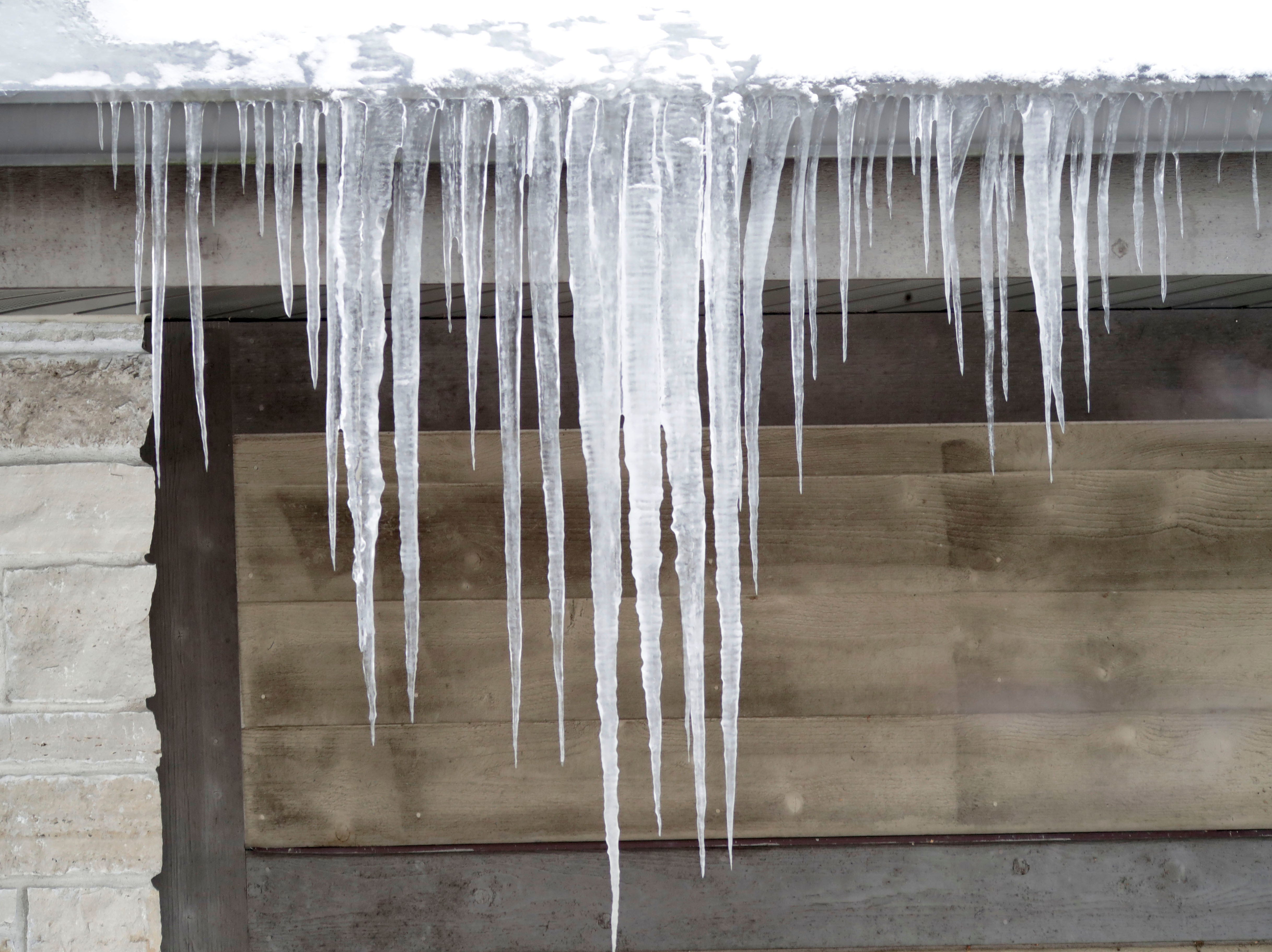 Icicles hang from the eves at the Ellwood H. May Environmental Park, Tuesday, March 5, 2019, in Sheboygan, Wis.