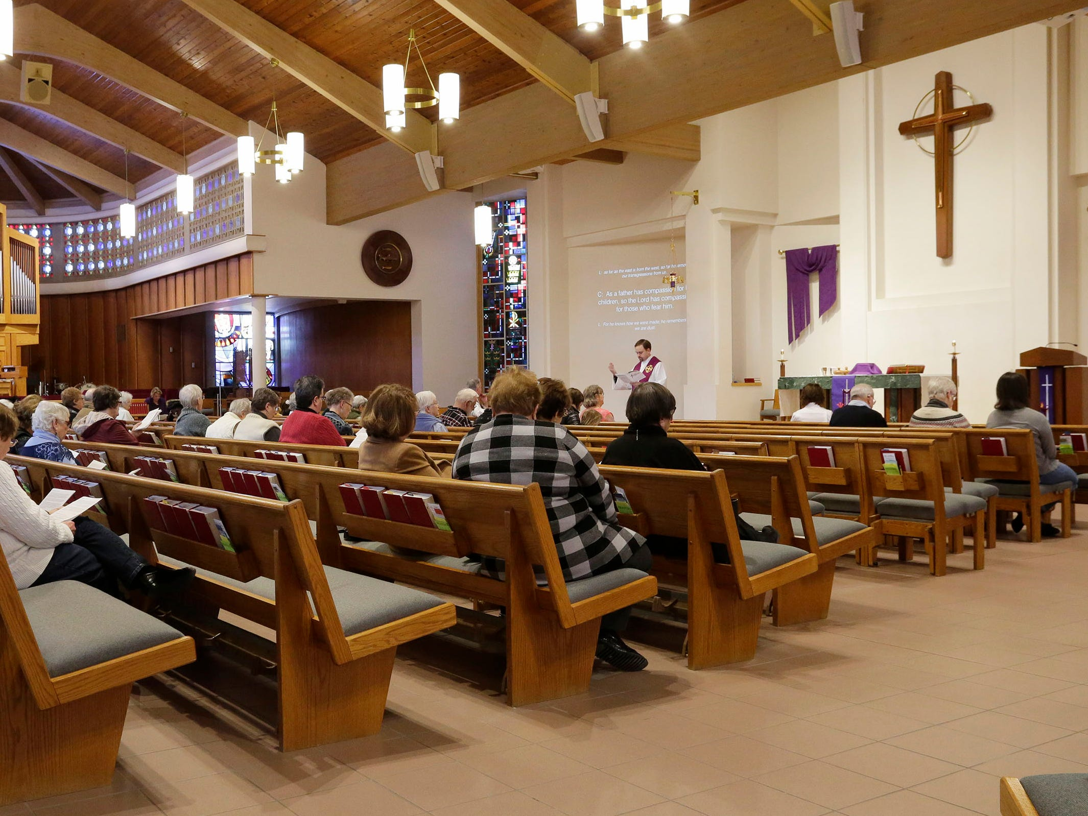 An overall of Ash Wednesday services at First United Lutheran Church, Wednesday, March 6, 2019, in Sheboygan, Wis.