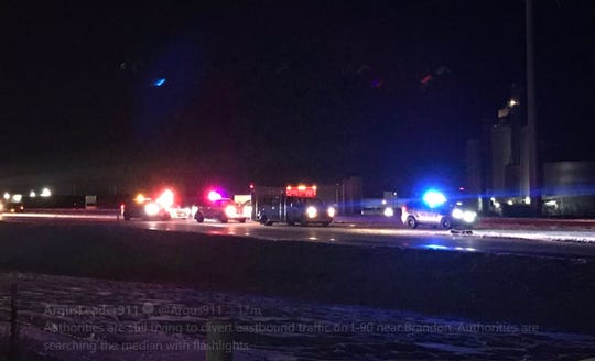 A serious crash was reported on I-90 near Brandon on Tuesday night.