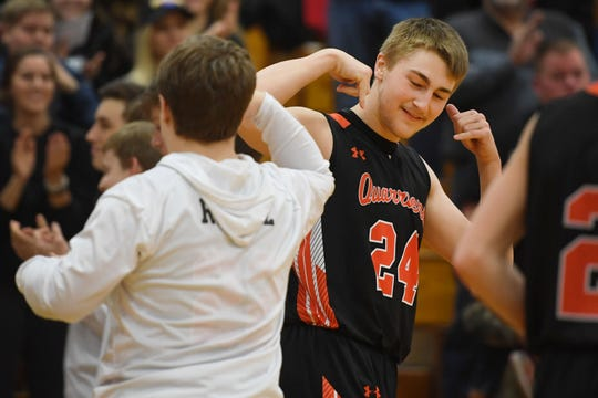 Dell Rapids' Drew Van Regenmorter takes the court for a game against Parker Tuesday, March 5, at Roosevelt High School in Sioux Falls. Van Regenmorter will help guide Quarriers against Dell Rapids St. Mary in a regular season game on Dec. 28.