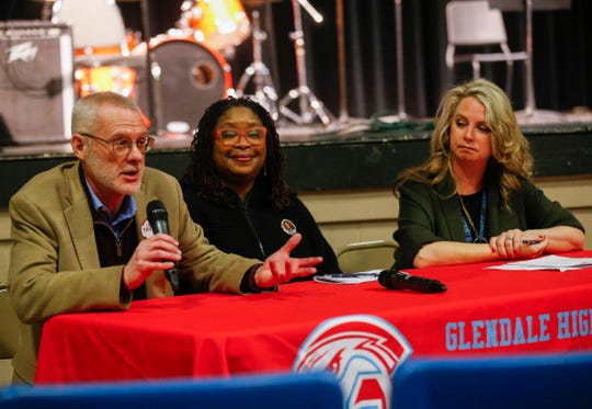 Charles Taylor (left) and Alina Lehnert (right) currently serve on the Springfield school board and are running for re-election. Shurita Thomas-Tate (center) is running for a first term.
