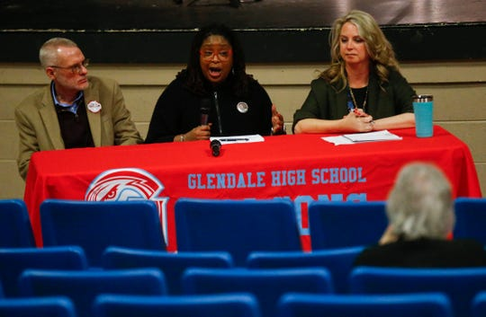 Candidates for the Springfield School Board, from left, Charles Taylor, Shurita Thomas-Tate, and Alina Lehnert during the monthly Springfield Council of PTAs meeting at Glendale High School on Wednesday, March 6, 2019.