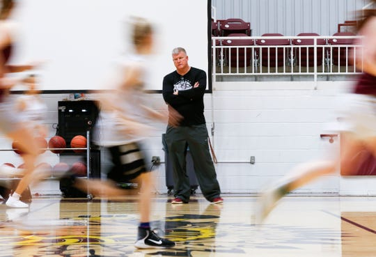 Strafford girls basketball coach Steve Frank leads the last practice of the year before the team competes in state semifinals on Thursday.
