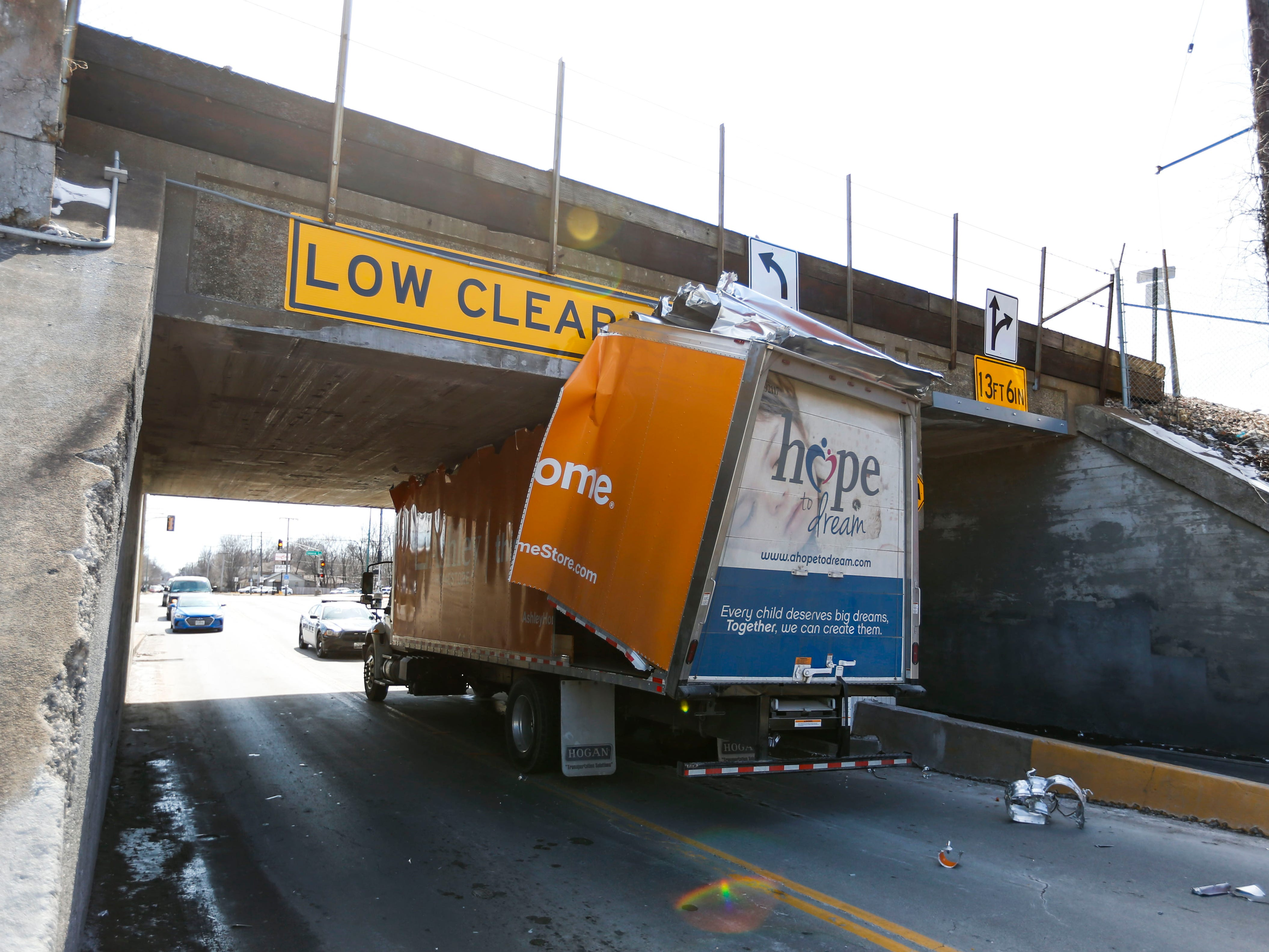 A furniture truck got stuck under the Grant Avenue viaduct on Wednesday, March 6, 2019.