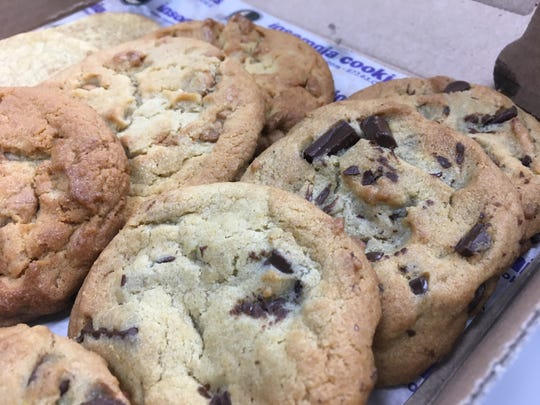 Freshly baked chocolate chunk, peanut butter chip and snickerdoodle cookies from Insomnia Cookies in St. Cloud.