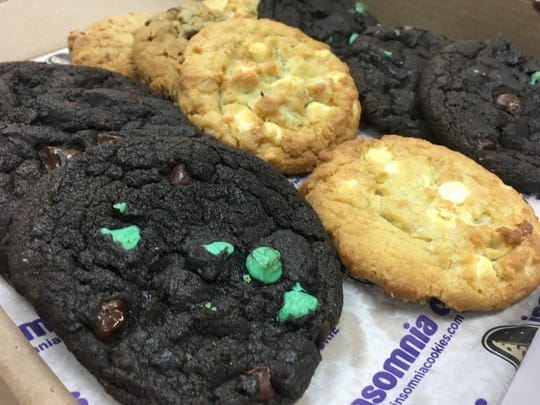 Double chocolate mint, double chocolate chunk, oatmeal raisin and white chocolate macadamia cookies from Insomnia Cookies in St. Cloud.