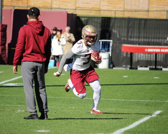 Running back Cam Akers at FSU football practice on March 6, 2019.