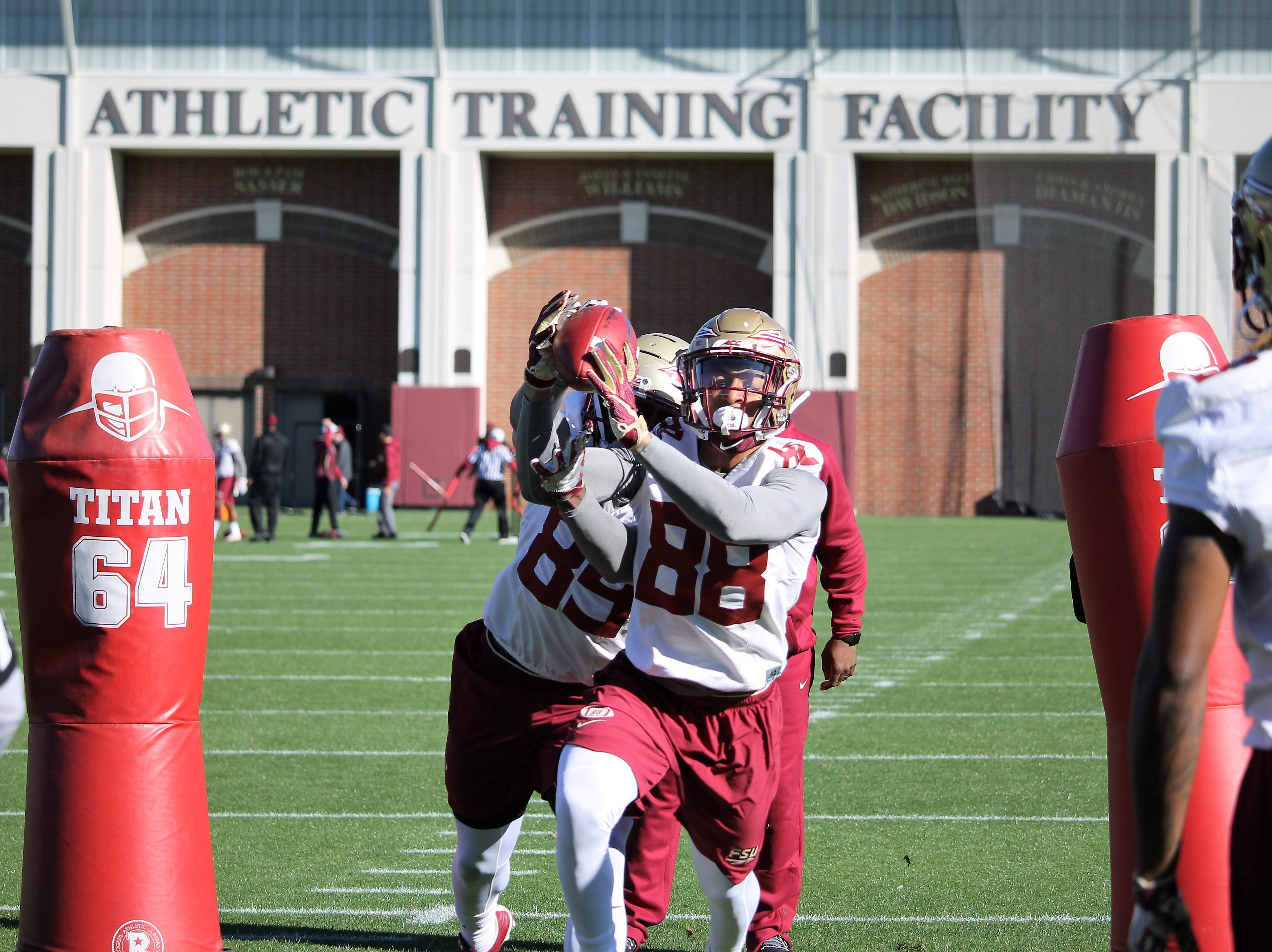 Wide receivers Keith Gavin (89) and Tre'shaun Harrison (88) at FSU football practice on March 6, 2019.