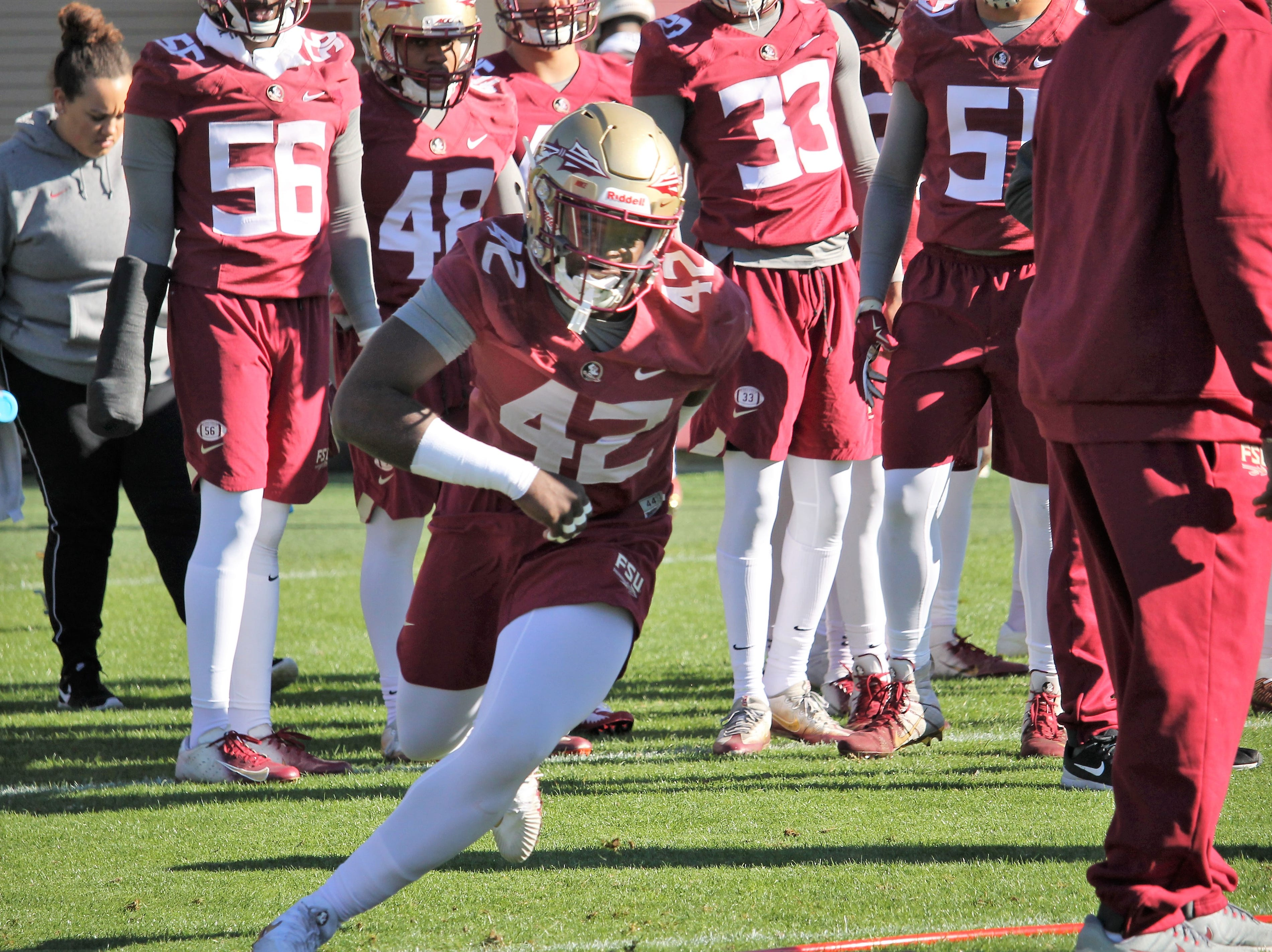 Linebacker Jaleel McRae at FSU football practice on March 6, 2019.