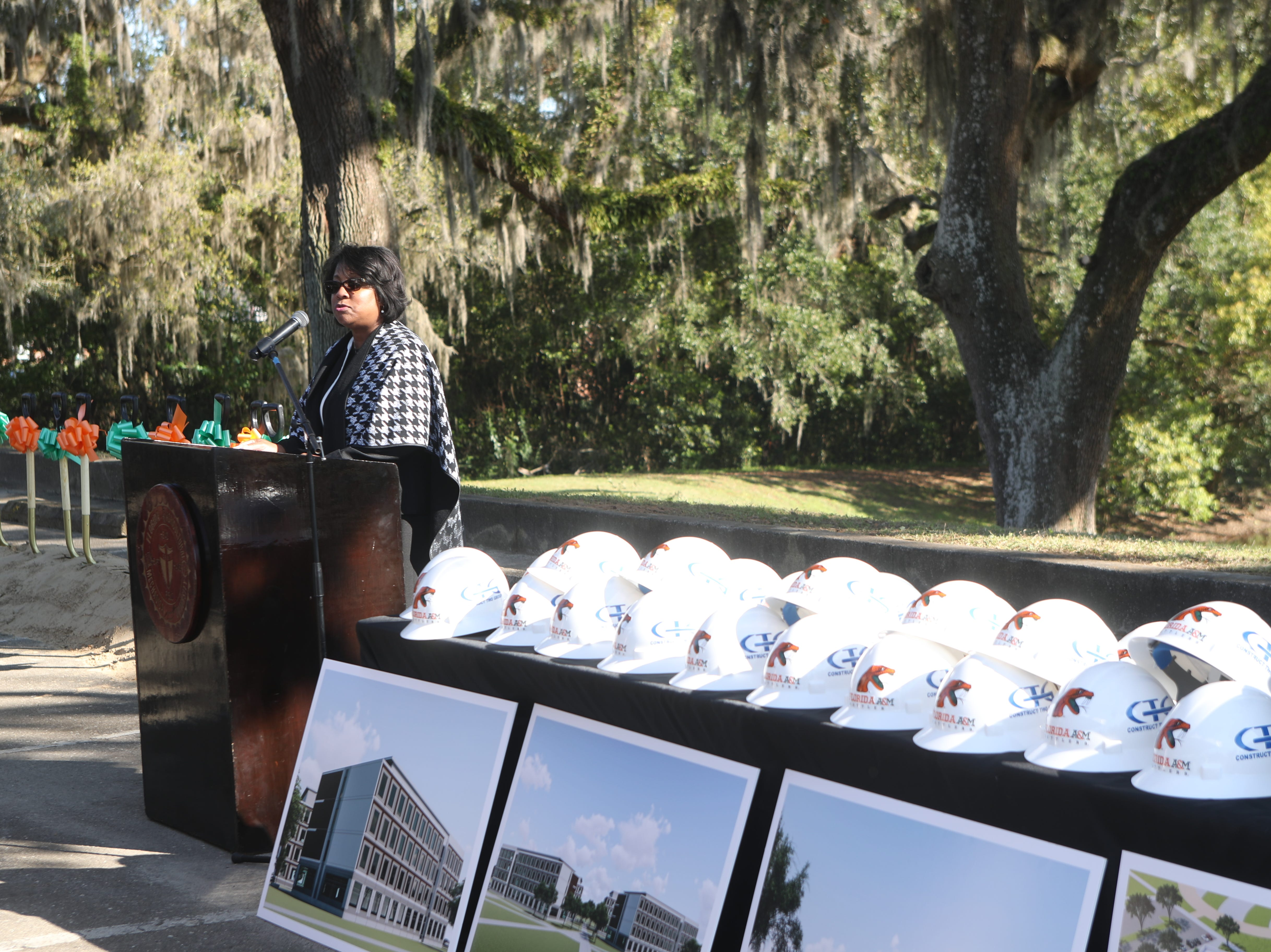 Florida A&M Vice President for Finance and Administration Wanda Ford speaks during a groundbreaking celebration for a new residence hall on the Florida A&M campus Wednesday, March 6, 2019.